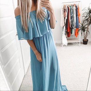 Show Me Your Mumu Hacienda Maxi Dress Coastal Blue